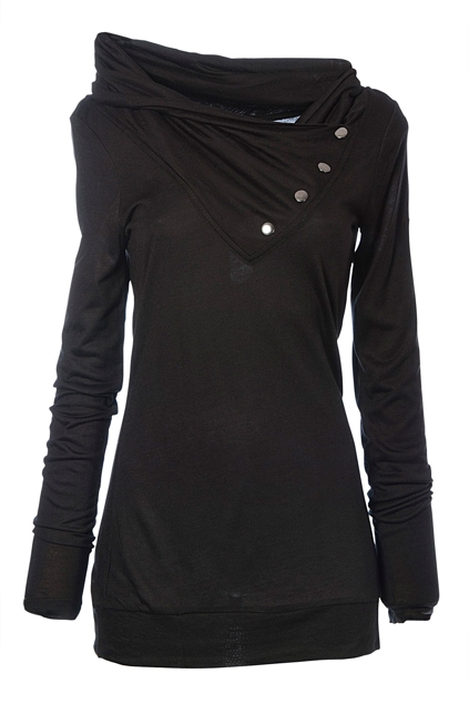 Edc Clothing Wrap High Neck Viscose Tee Womens Tees