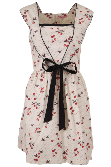Trollied Dolly Cream Birdie Dress Womens Dresses