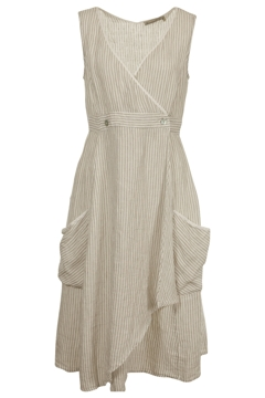 Hammock & Vine Dresses Stripe Linen Wrap Dress - Womens Calf ...
