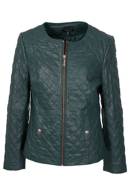 marco polo clothing quilted leather l s jacket womens jackets at birdsnest fashion. Black Bedroom Furniture Sets. Home Design Ideas