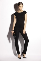 Cap sleeve top   boatneck   black  small2