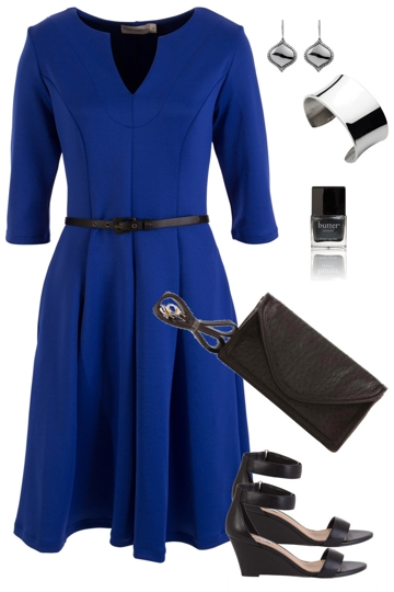 Blue illusions with leina broughton knee length dress and siren heel brand image