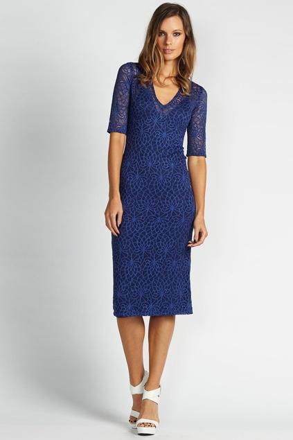 Blue lace knee length dress