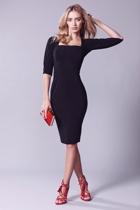 Iris 3 4 sleeve dress  black  red bag small2