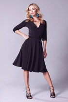 Reverse wrap dress  full skirt   black  small2