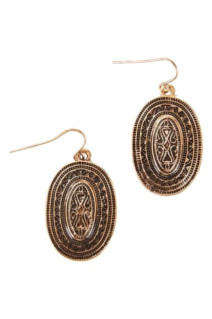 Adorne Jewellery And Bags Inscribed Oval Hook Earrings