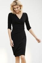 Faux wrap dress  black   2  small2