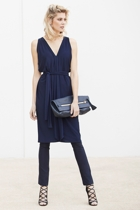 Column drape dress  navy  and skinny pants  navy  small2
