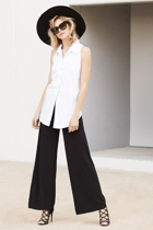 Lily cut away shirt  white  and seamless pants  black  small2