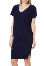 Nat batwing dress  navy  belted at hip v neck1 small2