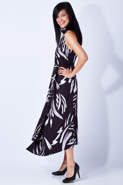 Ojay Painterly Leaf Halter Dress Womens Maxi Dresses