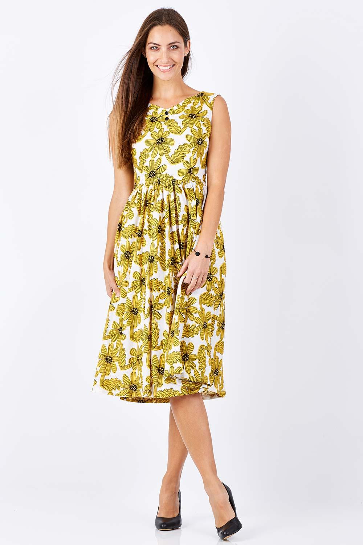 Vintage Dresses Australia- 1920s, 30s, 40s, 50s, 60s Styles Marlin Sunflower Dress AUD 89.95 AT vintagedancer.com