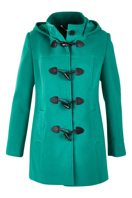 Emerald green duffle coat