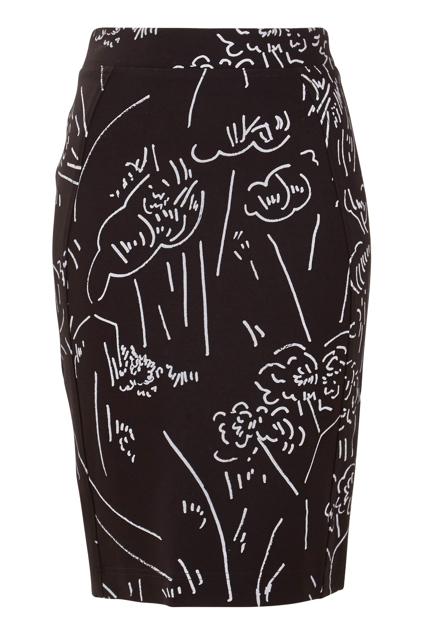 Print Ponti Pencil Skirt