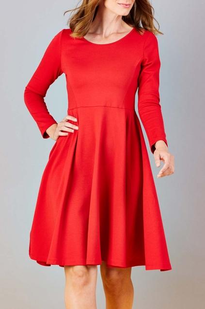 Red Flair Knee Length Dress