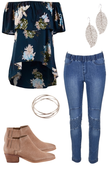 By your side with boho bird blouse and boho bird skinny jeans brand image