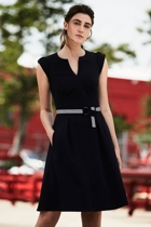 Fit   flare belted dress  navy  small2