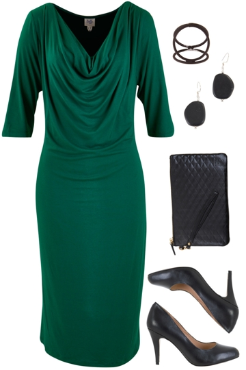 Emerald is in with belle bird knee length dress and siren heel brand image