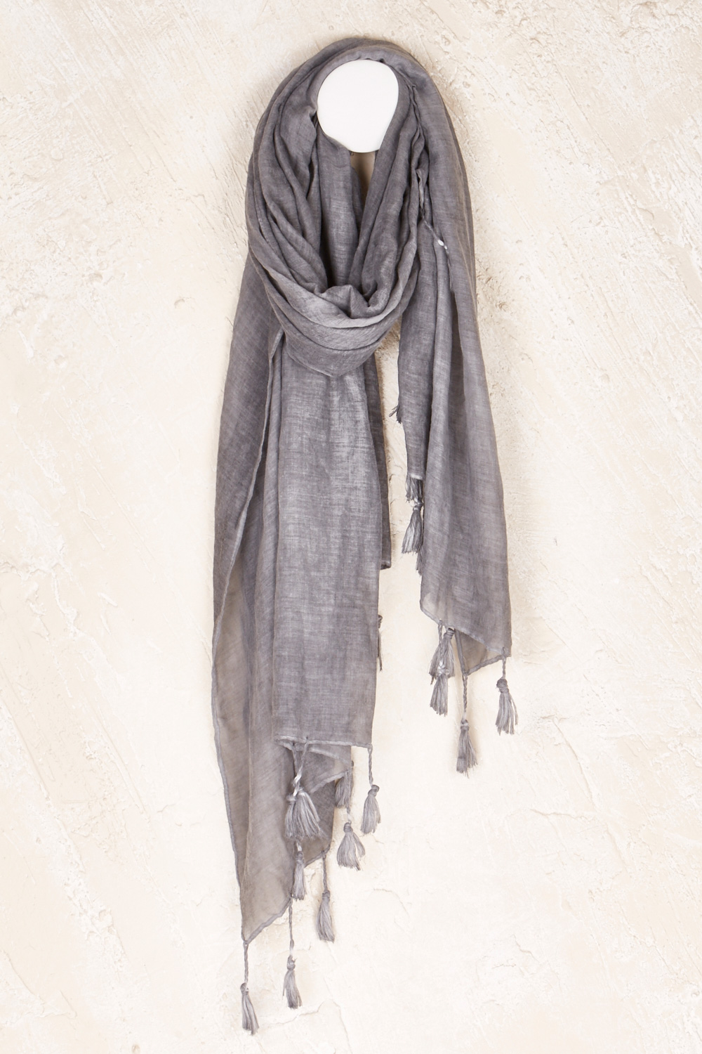 Block And Tassel Scarf