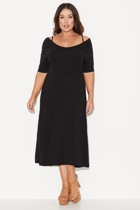 Aw1318 cross back fit and flare dress full front off the shoulder small2