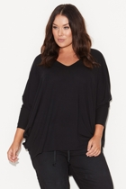 Bs1643 black split sleeve circle top front small2