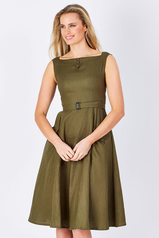 Vintage Dresses Australia- 1920s, 30s, 40s, 50s, 60s Styles Bea Linen Dress AUD 199.95 AT vintagedancer.com