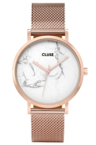 Cl40007 la roche mesh rose gold white marble frontal w small2