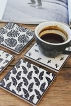 Ceramic coasters black white style 3 small2