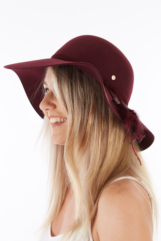Vintage Dresses Australia- 20s, 30s, 40s, 50s, 60s, 70s New Ever After Wide Brim Wool Felt Hat AUD 59.95 AT vintagedancer.com
