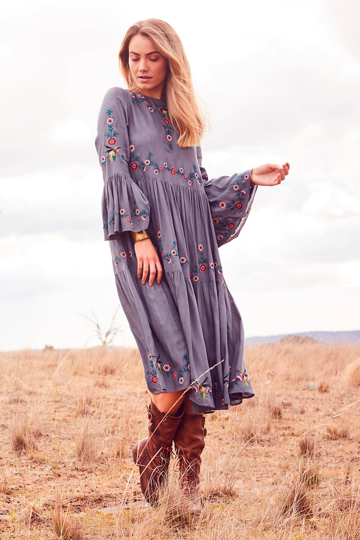 70s Dresses – Disco Dresses, Hippie Dresses, Wrap Dresses Folklore Embroidered Dress AUD 189.95 AT vintagedancer.com