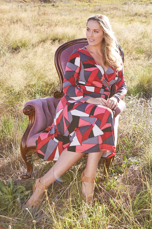 70s Dresses – Disco Dresses, Hippie Dresses, Wrap Dresses Printed Faux Wrap Dress AUD 119.95 AT vintagedancer.com
