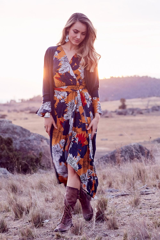 Vintage Dresses Australia- 20s, 30s, 40s, 50s, 60s, 70s Freedom Faux Wrap Dress AUD 129.95 AT vintagedancer.com