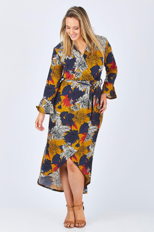 Vintage Dresses Australia- 20s, 30s, 40s, 50s, 60s, 70s Freedom Faux Wrap Dress AUD 99.95 AT vintagedancer.com