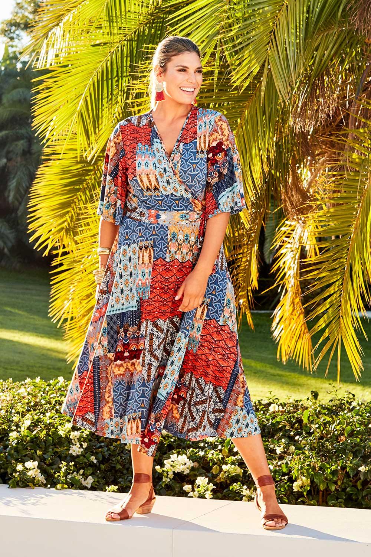 Vintage Dresses Australia- 20s, 30s, 40s, 50s, 60s, 70s Wrapped Patch Dress AUD 159.95 AT vintagedancer.com