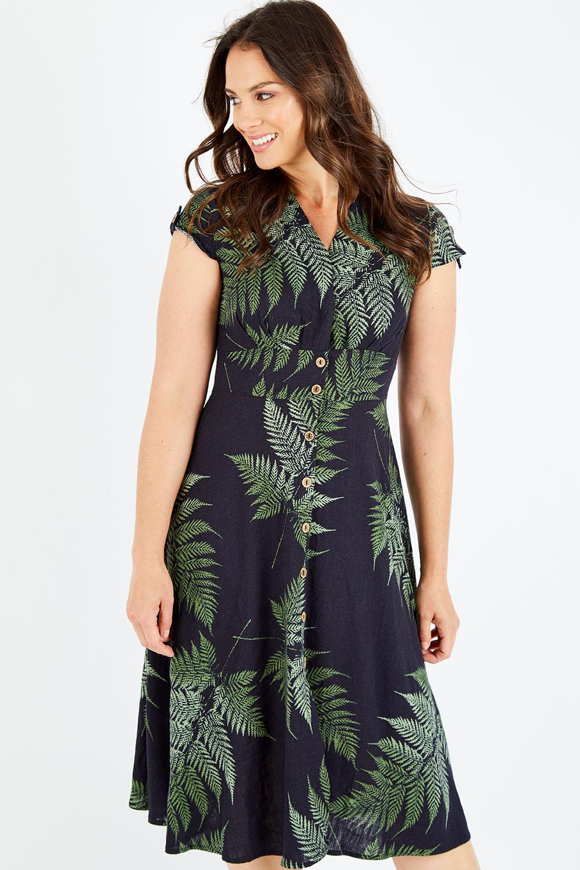 1950s Dresses, 50s Dresses | 1950s Style Dresses Perfect Palm Linen Mix Dress AUD 89.95 AT vintagedancer.com