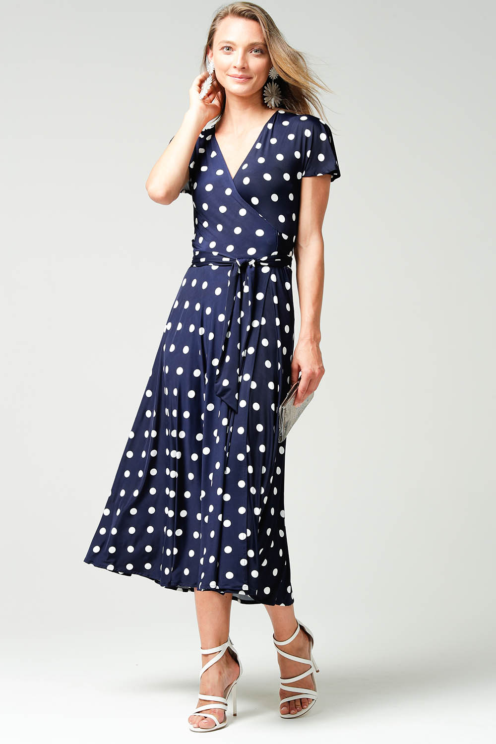 Vintage Polka Dot Dresses – 50s Spotty and Ditsy Prints Reverse Wrap Midi Fluted Sleeve Dress AUD 279.00 AT vintagedancer.com